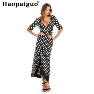 Robe Casual Dresses Polka-Dot Big-Size Longue Half-Sleeve Backless Print Summer Loose