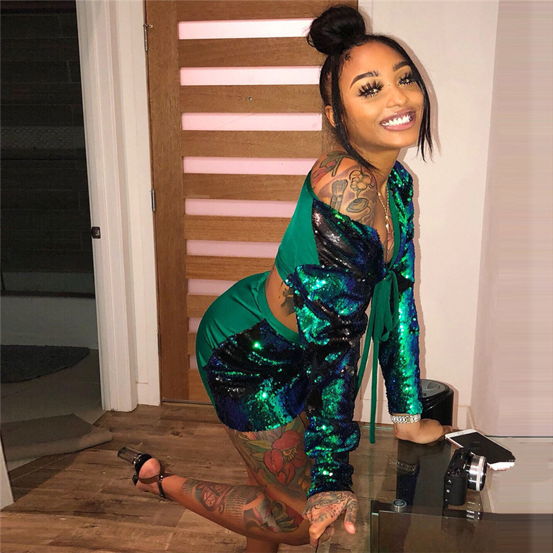Shiny Green Sequins Long Sleeve Crop Top Bodycon Mini Dress Two Piece Set Women 2 Piece Matching Sets Lady Party Club Outfits