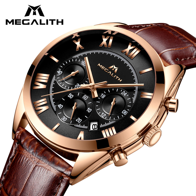 MEGALITH Watch For Men Waterproof Sport Chronograph Date Calendar Quartz Watches Mens Luxury Business Brown Leather Wristwatches megalith quartz watches mens waterproof chronograph calendar silver stainless steel wrist watch gents sport business men s watch