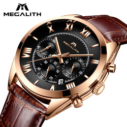 MEGALITH Watch For Men Waterproof Sport Chronograph Date Calendar Quartz Watches Mens Luxury Business Brown Leather Wristwatches