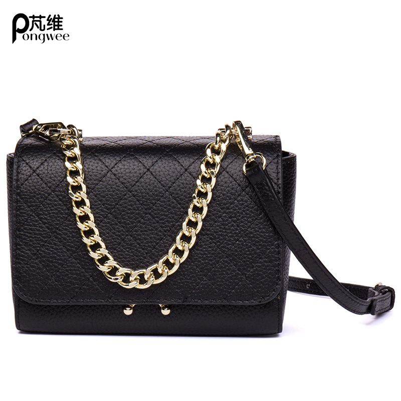 PONGWEE New 2018 Fashionable And Practical Crossbody Bag Ladies Mini Bag Messenger Bag Genuine Leather Chain Female Shoulder Bag practical mini close fitting bag