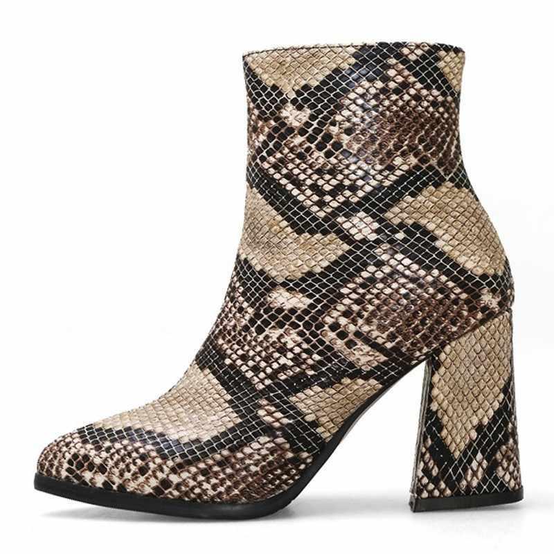 Slang Enkellaars Vrouwen Herfst Winter Dame Hoge Hakken A275 Mode Vrouw Goud Zilver Bruin Rood Gesp Rits Spitse Neus schoenen