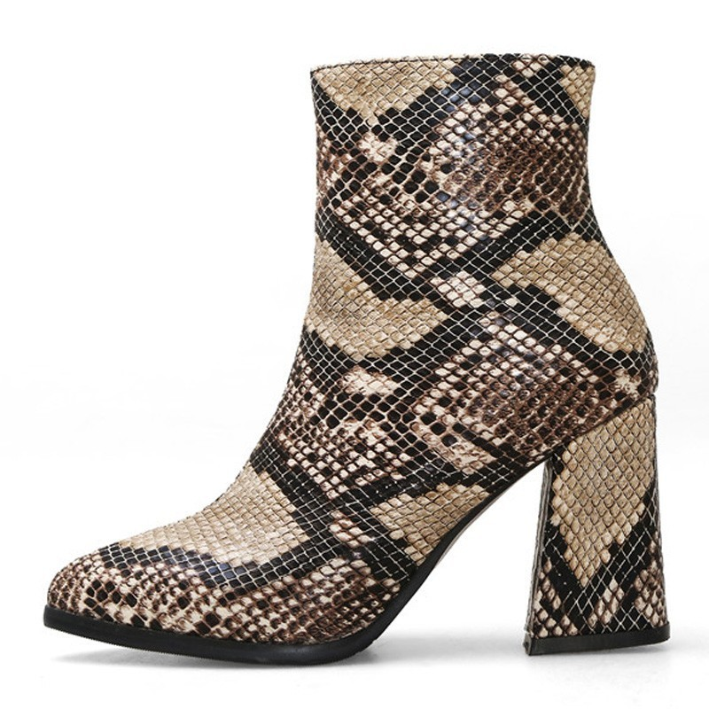Image 2 - Snake Ankle Boots Women Autumn Winter Lady High Heels A275 Fashion Woman Gold Silver Brown Red Buckle Zipper Pointed Toe Shoes-in Ankle Boots from Shoes