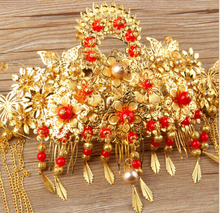 Luxury  Chinese Vintage Gold Butterfly Bridal Headwear,Handmade Beads Faux Pearl Wedding hair Accessory