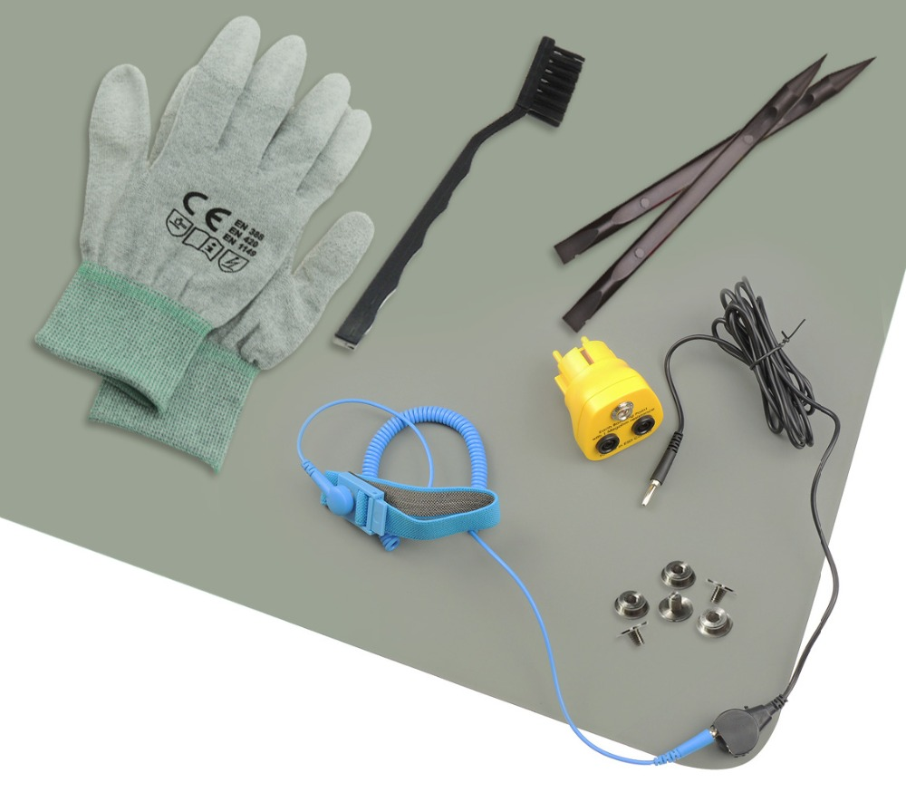 Free Shipping Gray Antistatic ESD Bench Mat With Wrist Strap And ESD Glove Grounding Wire UK EU USA AUS Earthing Bonding Plug