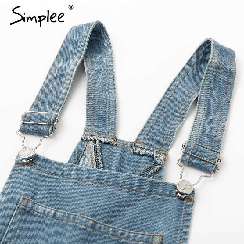 Simplee Винтаж рваные женские синие ремень джинсовые комбинезоны комбинезон; полная длина Комбинезоны с карманами Осенние повседневные уличные комбинезоны