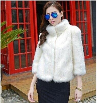2015 новый теплое зимнее пальто норки воротник стойка женщина черно-белый короткие шуба толстый слой Большой размер S-4XL бесплатная доставка