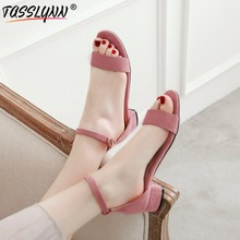 TASSLYNN 2019 Concise Sandals Women Open Toe Sexy Ankle Strap Square Low Heels scrub Summer Shoes size12