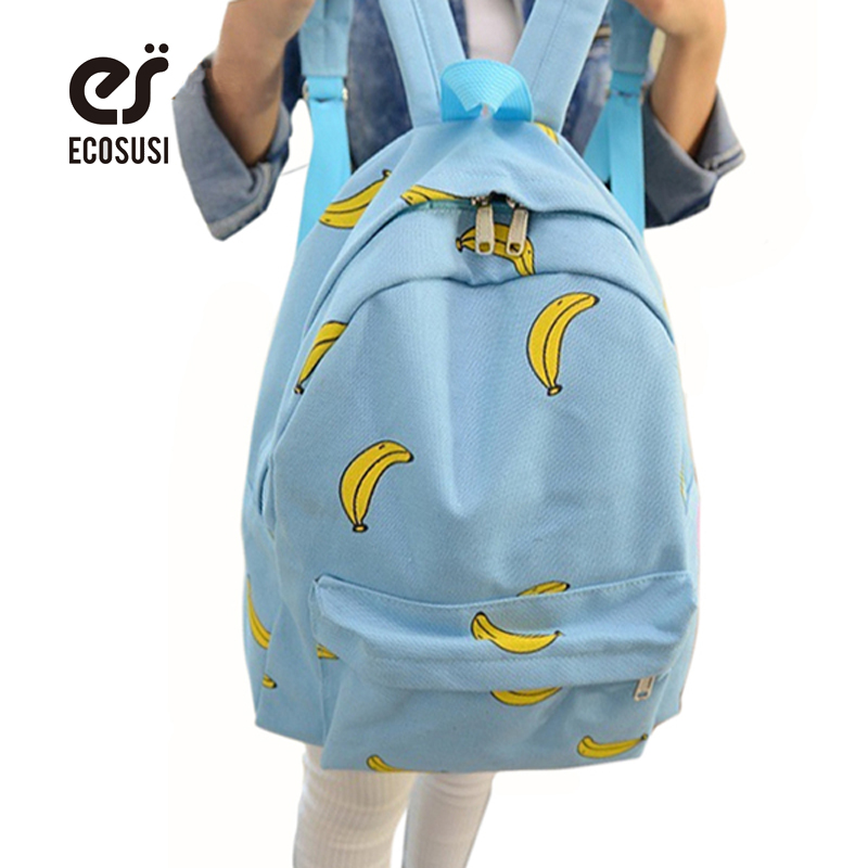 ECOSUSI Cute Girl Banana Pattern Printing Backpack Traveling Pratical Backpack Unique Fashion Canvas Bag