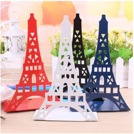 1 Para Metall Buchstützen Eiffelturm Schreibtisch Organizer Buch Stehen Für Bücher Gute WäRmeerhaltung