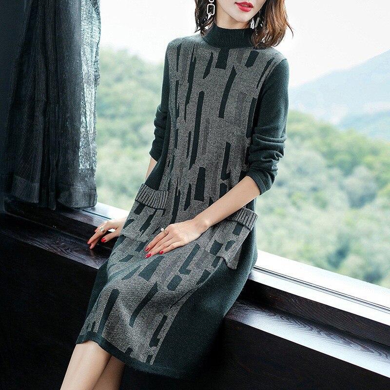 Nouvelles Long Green Taille De Tricot Lâche Mode Femmes Casual Vs355 Printemps Haute Pull Grande ink camel Tricots Qualité Robe Automne 2019 Black Dames dxw1q07Ed