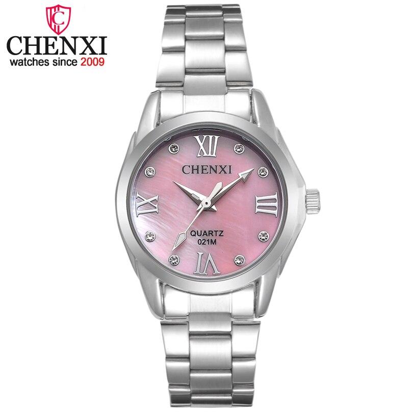 CHENXI Brand Elegant Women Business Quartz Watch Ladies Stainless Steel Rhinestone Clock Decoration Gift Relogio Feminino