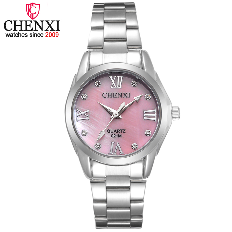 CHENXI marca mujeres elegantes negocios cuarzo reloj de las señoras de acero inoxidable Rhinestone decoración reloj regalo Relogio Feminino