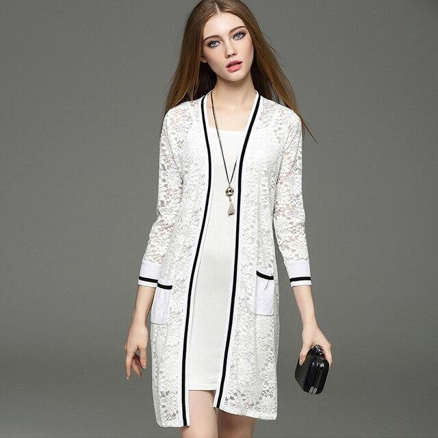 2017 Новый Летний Женская Мода Длинный Кардиган Свитер Случайные Кружева Лоскутное Вязаный Кардиган Пальто Mujer Тонкий Трикотаж Feminino