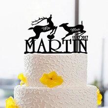 Mr & Mrs Wedding Decoration Cake Toppers Bride & Groom Love Modern Toppers Custom Name