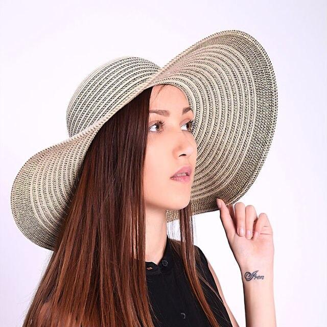 Nuevo 2016 sombreros de playa para mujeres sun gorras sombrero de paja sombrero de ala ancha floppy sombrero para summer alta calidad envío gratis