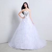 2016 Elegant Church Wedding Dresses A Line Strapless Lace Up Embroidered Bridal Gowns With Crystal Chapel