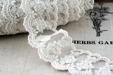ivory lace trim, embroidered lace, cotton trim lace, scalloped trim lace with daisy flowers scallop trim embroidered lace overlay bra