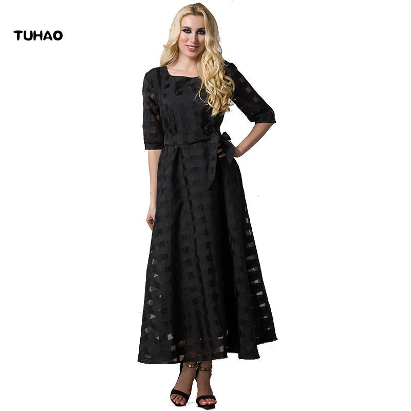 Brave Tuhao Vintage Swing A Line Summer Dress Womens Dresses Hollow Out Black Mesh Three Quarter Belted Slim Plus Size 6xl 7xl Cm18 Dresses