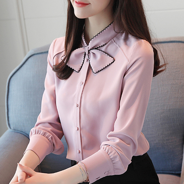 New Design 2018 Summer Women Full Sleeve Chiffon Blouse With Bow