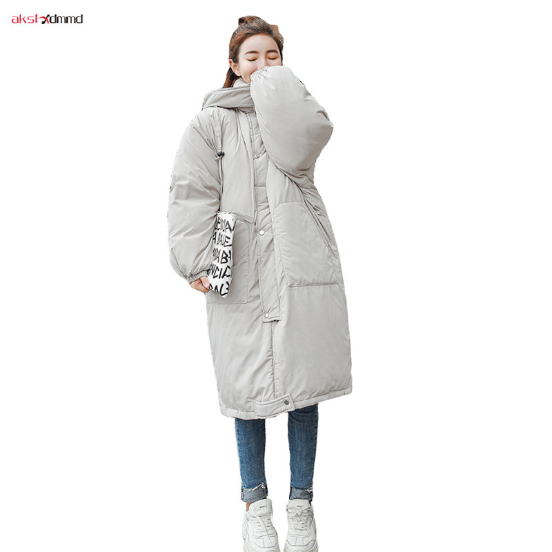 2019 New Women Winter Cotton Padded Coat Long Loose Jacket Solid Plus Size Hooded Outer Warm Outwear Korean Style   Parkas   AC310