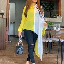 Asymmetric Color Block Long Sleeve Long Blouse Shirt Yellow White Plus Size Sexy Transparent Oversized 4XL 5XL Women Tops Fall