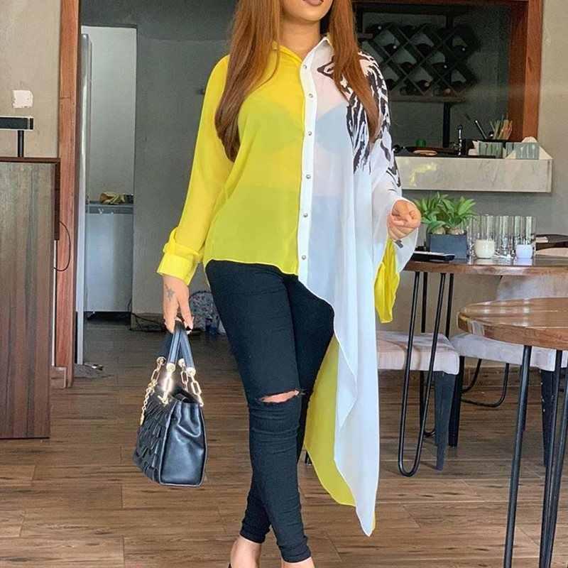 Asymmetrische Kleurblok Lange Mouwen Lange Blouse Shirt Geel Wit Plus Size Sexy Transparante Oversized 4XL 5XL Vrouwen Tops Fall