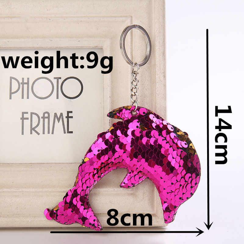 Dễ thương Cá Heo Keychain Long Lanh Pompom Sequins Quà Tặng Móc Chìa Khóa cho Phụ Nữ Llaveros Mujer Túi Xe Phụ Kiện Vòng Chìa Khóa Chaveiro