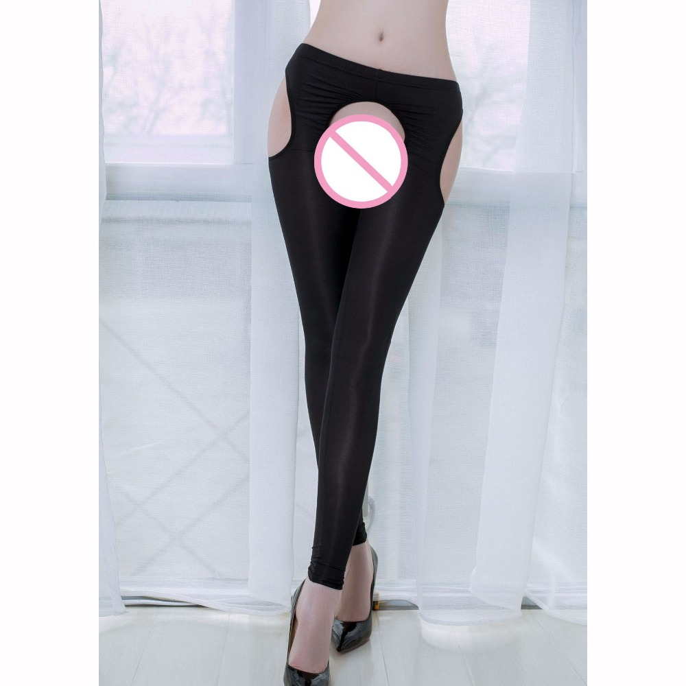 Candy Color All Sides Hollow Out <font><b>Transparent</b></font> Crotchless <font><b>Leggings</b></font> Oil Glossy Open Butt Exotic <font><b>Sexy</b></font> Hot Pants Fitness <font><b>Legging</b></font> Pant image