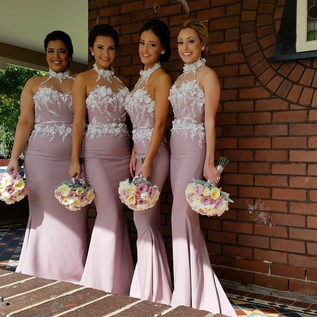 Custom Made Floor-Length 2017 New Arrival High Quality Applique Corset Mermaid Pink Halter   Bridesmaid     Dresses   With Sashes TL7975