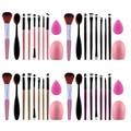 Nuevo Grupo 10 unids/lote Rosa Negro Pinceles de Maquillaje En Polvo Colorete Fundación Esponja Soplo Cosmético Del Cepillo Limpiador Huevo Juego de Herramientas de Belleza