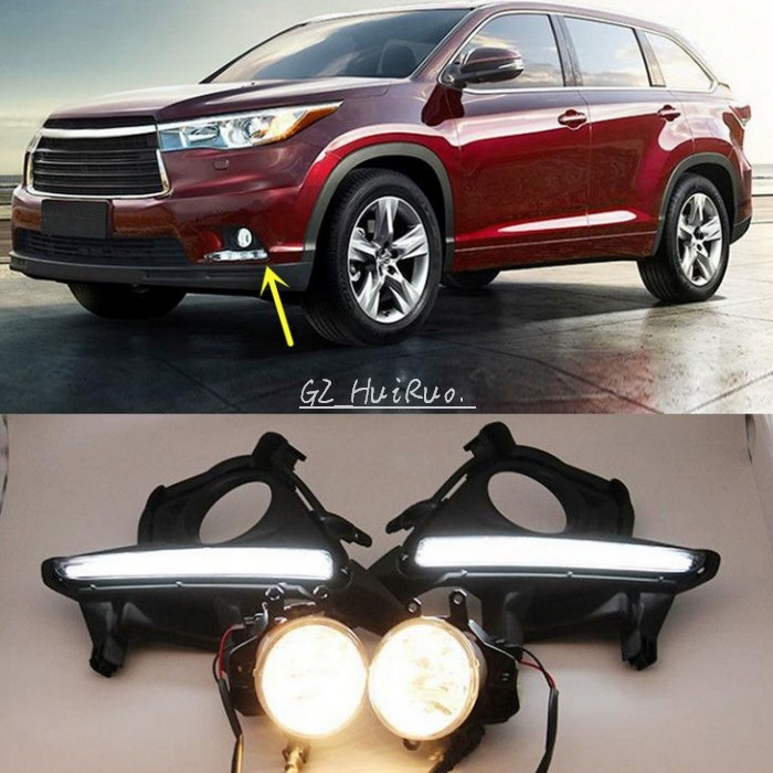 2pcs Car LED DRL+Fog Light daytime running light for Toyota Highlander 2014 2015 2016 DRL lamp emark waterproof 12 LED 1pair/lot car styling tail lights for toyota highlander 2015 led tail lamp rear trunk lamp cover drl signal brake reverse