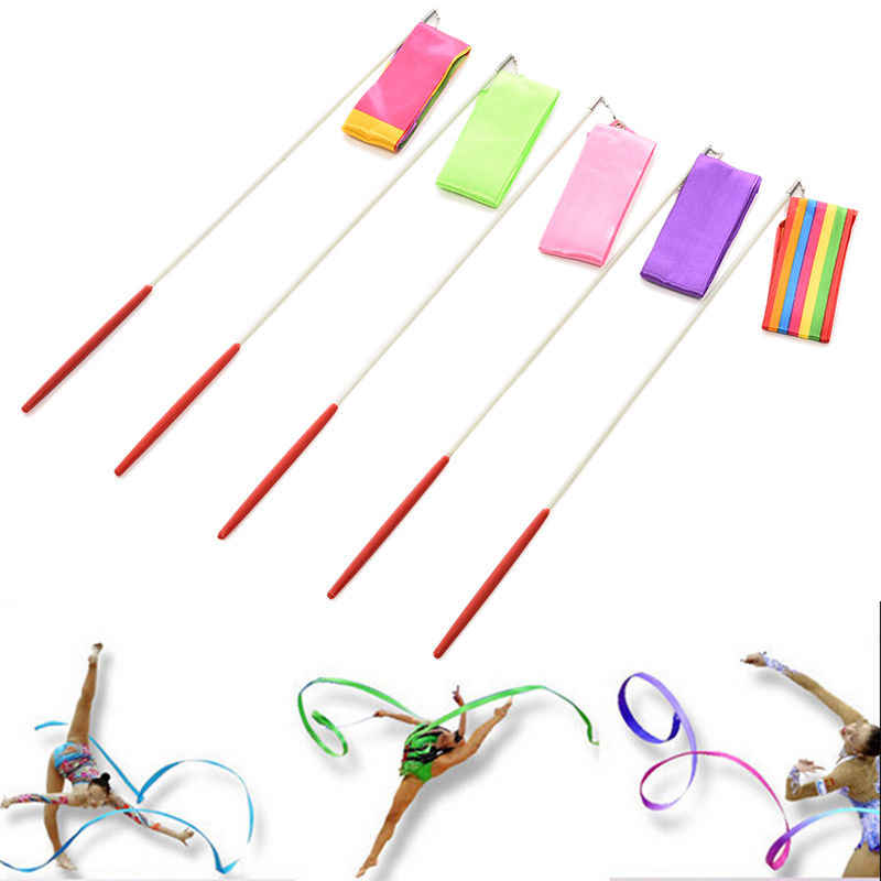 3.6 M Gym Dance Ribbon Berirama Art Senam Streamer Twirling Rod Tongkat 5 Warna