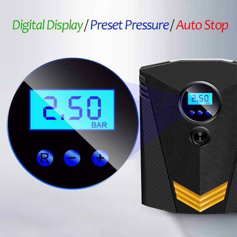 Eafc Portable 150PSI Mobil Inflator Ban Layar Digital Pompa Kompresor Udara dengan Lampu LED DC12V Pompa untuk Mobil Sepeda Motor