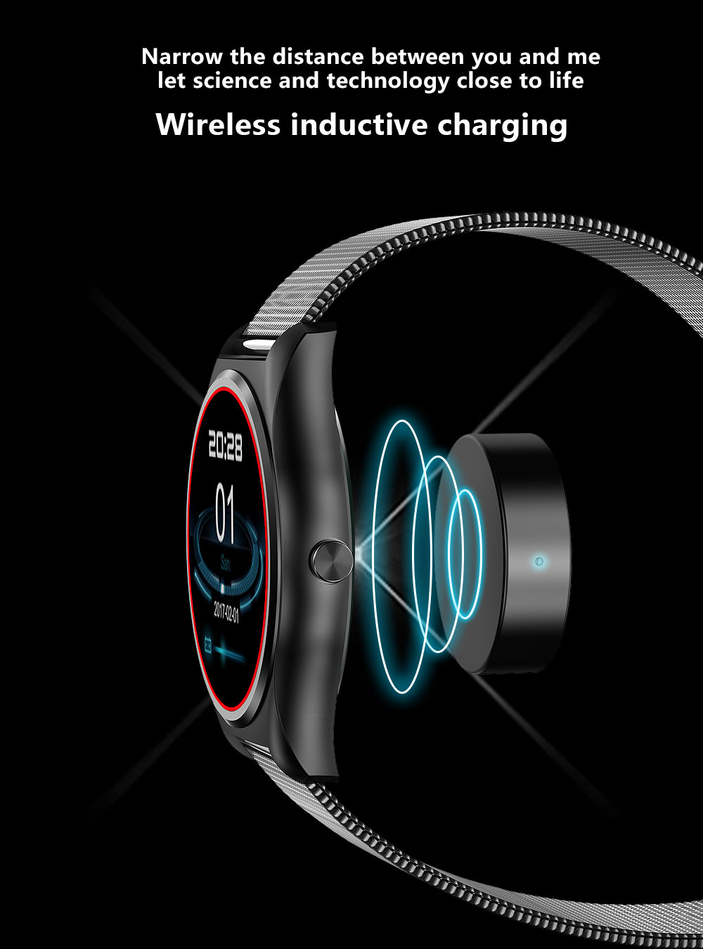 New Round Clock MTK2502c Wireless Charging Smart Watch Heart Rate Bluetooth Call SMS Sync Smartwatch for iOS Android pk K88h G6 wireless service call bell system popular in restaurant ce passed 433 92mhz full equipment watch pager 1 watch 7 call button