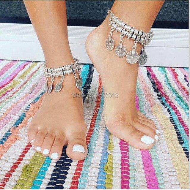 Women Men New Vintage Coin Dangle Wave Metal Ankle Bracelet Bohemian Adjule Foot Chain