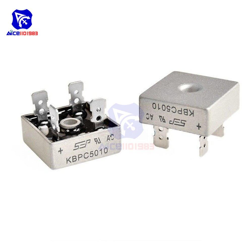 5PCS/Lot KBPC5010 Bridge Rectifier 50A 1000V AC Metal Case Single Phases Diode Bridge Rectifier