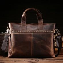 "High Quality Big Genuine Leather Men Messenger Bags Briefcase Portfolio Male 15"" Laptop Business Travel Bag 8029"