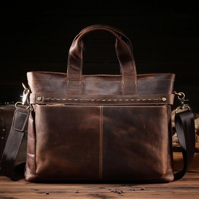 NEWEEKEND Man's  Vintage Genuine Crazy Horse Cowhide Leather 15.6 Inch Handbag Crossbody Shoulder Laptop Briefcase Messenger Bag