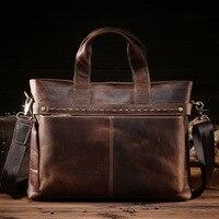 High Quality Big Genuine Leather Men Messenger Bags Briefcase Portfolio Male 15 Laptop Business Travel Bag