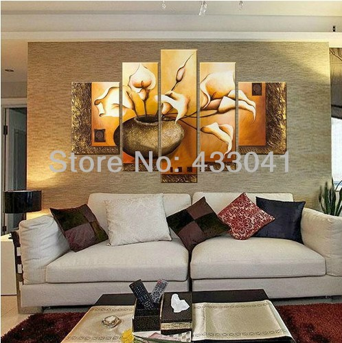 ... Living Room Decoration Large 5 Piece Wall. Online Handmade Yellow  Flower Oil Painting Picture For Modern