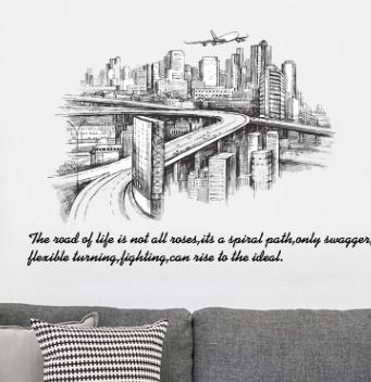Dinding Stiker Sketsa Bangunan Kota Bedroom Living Room Removable