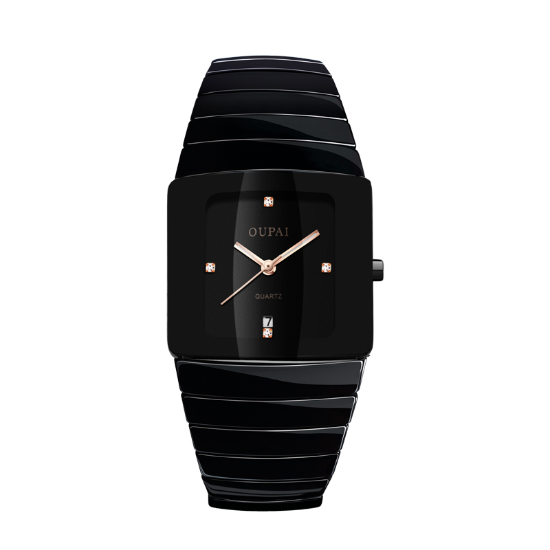 Image 4 - OUPAI Black Ceracmic Rectangle Men Watch with Calendar Business Tonneau Luminous Hands  Water Resistant Couple Watch-in Quartz Watches from Watches