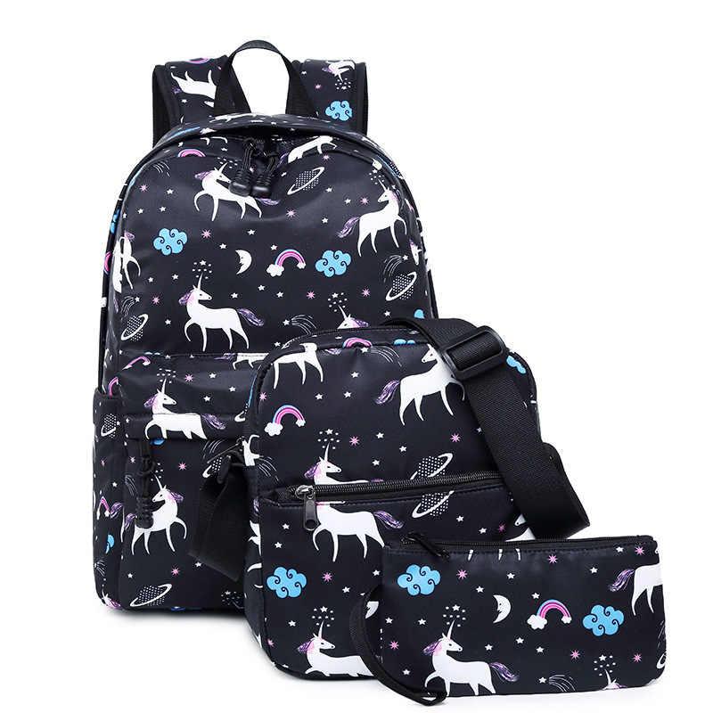 1d9c9eb81714 3PCS  set Women Printed Unicorn Backpack School Backpacks Casual Nylon Woman  Bags For Teenage Girls