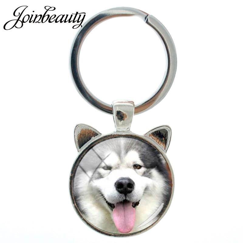 JOINBEAUTY Handmade Anjing Keychain Selamat Alaskan Malamute Pug Siberian Husky Keychain Cincin Vintage Pria Wanita Perhiasan Keyring CN746