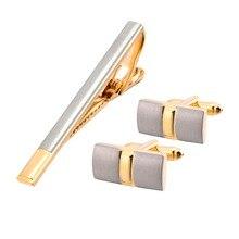 Cufflinks and Tie Clips Mens Set Gold Cufflink Pins for Men Cuff Links Band High-grade Anchor Sleeve Best Man Bar QiQiWu
