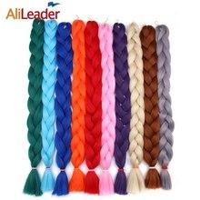 AliLeader Synthetic Braiding Hair 613 White Brown Pink Kanekalon Hair 20 Colors Crochet Hair Extension Heat Resistant Braid