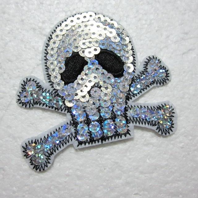 Tissu brodé à paillettes de crâne   20 pièces/lot, tissu cousu sur écusson, motifs appliqués, décoration artisanale pour vêtements diy A541 * 10
