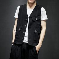 Male Solid Color Sleeveless Coat Japan Style Fashion Waistcoat Men Summer Casual Vest Jacket