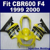 injection molding motor fairings set for HONDA CBR600F4 1999 2000 CBR600 99 00 F4 CBR600F yellow black ABS fairng kits